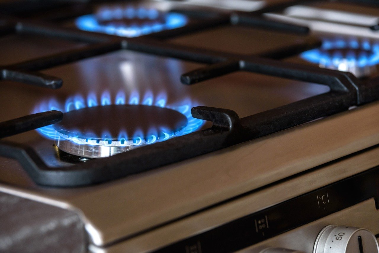 Gas burners in a kitchen